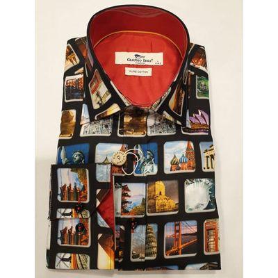 Foto van Claudio Lugli, overhemd met Vintage city print