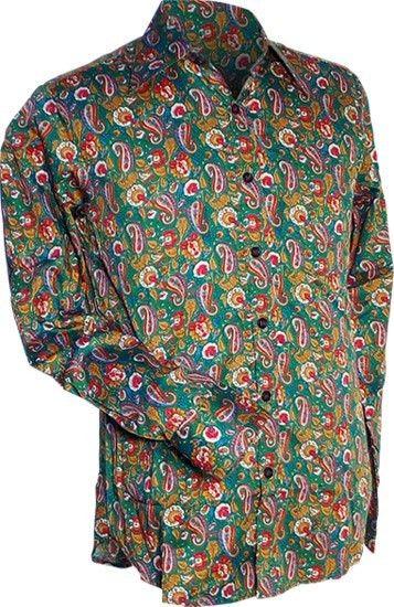 Chenaski   overhemd seventies, Paisley en bloemen groen