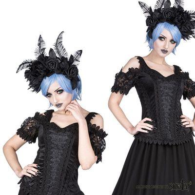Foto van Top Olivia, zwart fluweel met satijn en pofmouwen