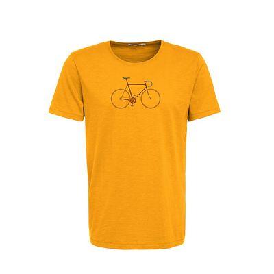Foto van Green Bomb   T-shirt bike trip, bio katoen goud geel