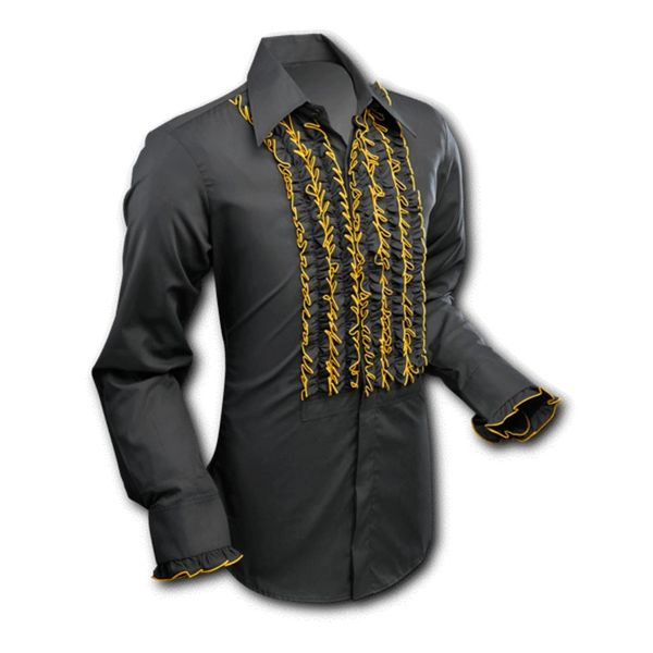 Chenaski | Overhemd ruche, black gold