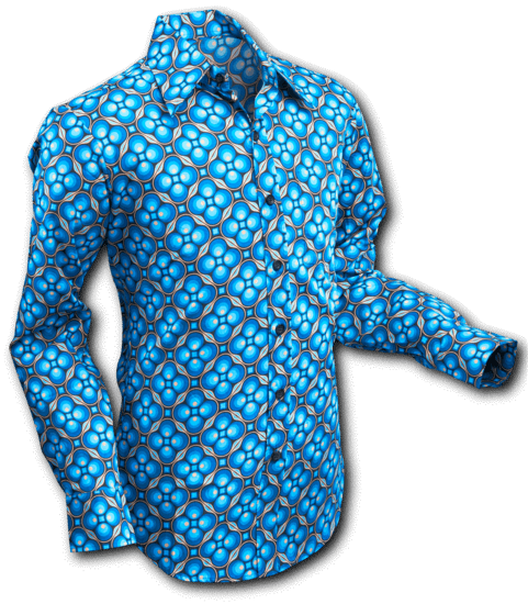 Chenaski | overhemd Seventies Dotsgrid Black Petrol