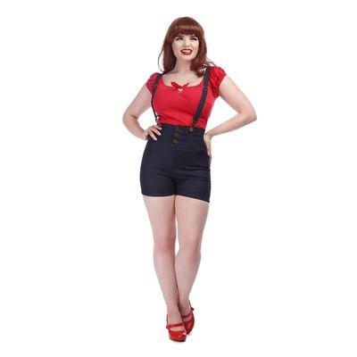 Foto van Collectif | Denim dungaree shorts Nomi met hoge taille