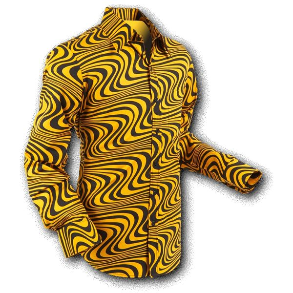 Chenaski | overhemd Seventies Wavyline Yellow Black