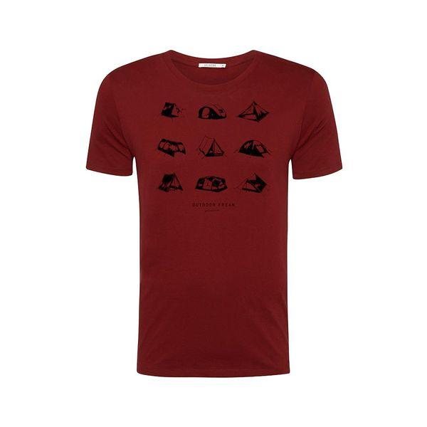 Green Bomb | T-shirt Outdoor freak, bordeaux rood bio katoen
