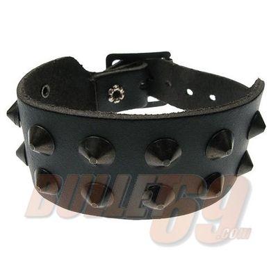 Foto van Bullet69 - Leren armband, 35mm - zwart met 2 rijen zwarte conical studs