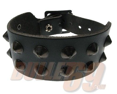 Bullet69 - Leren armband, 35mm - zwart met 2 rijen zwarte conical studs