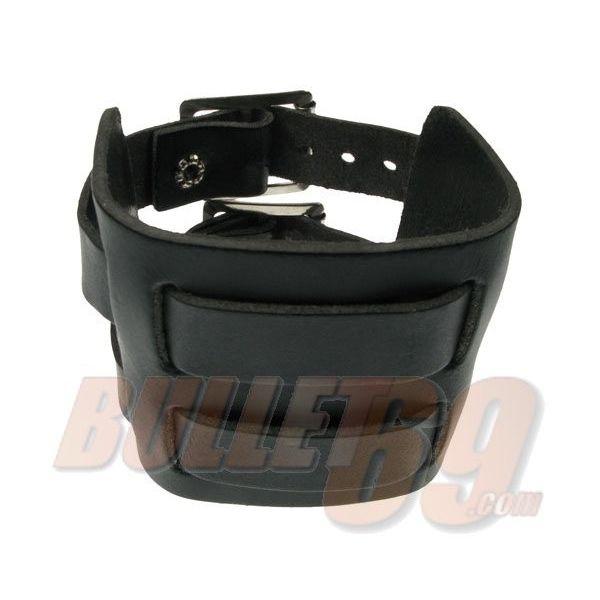 Bullet69 - Leren armband, 70mm - grijs doorwoven met twee bandjes-18mm