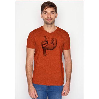 Foto van Green Bomb | T-shirt oranje Animal Sloth bio katoen