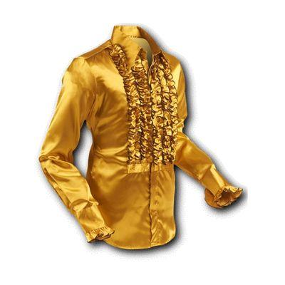 Foto van Chenaski | Overhemd ruche, satin gold