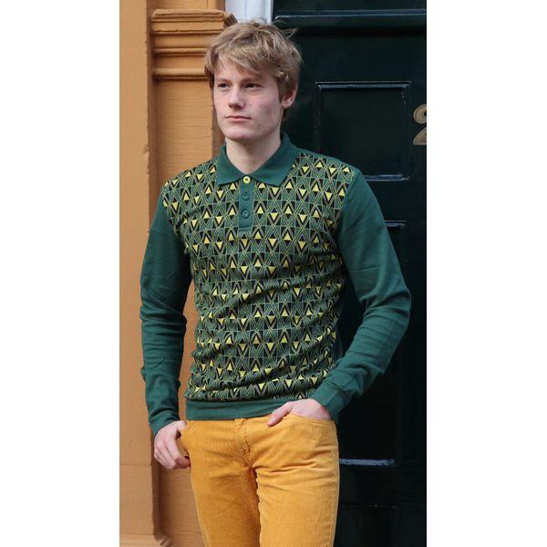 ATO Berlin   Polo Enne met lange mouw, groen geel v-jacquard patroon