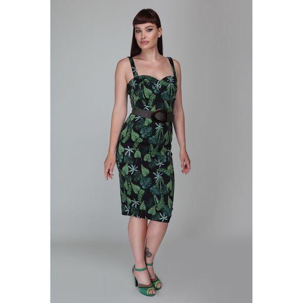 Collectif   Pencil jurk Kiana Tropics met bladeren groen