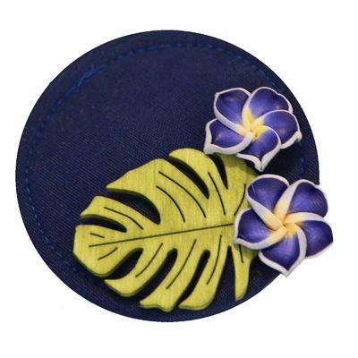 Foto van Miranda's Choice - Haarclip minihoed Aloha met bloem donkerblauw