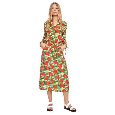 Ato Berlin, lange jurk Marianna met tropische bloem print
