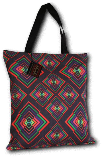 Handtas retro print Rhombus Black Multicolour