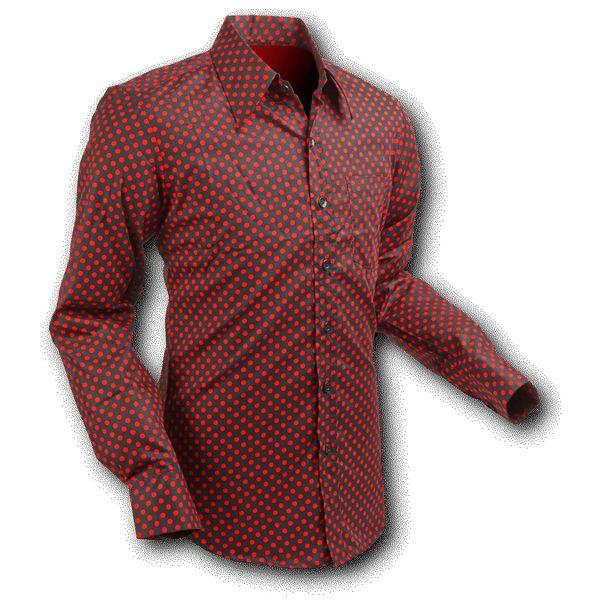Chenaski   overhemd Seventies Polka Dots Black Red
