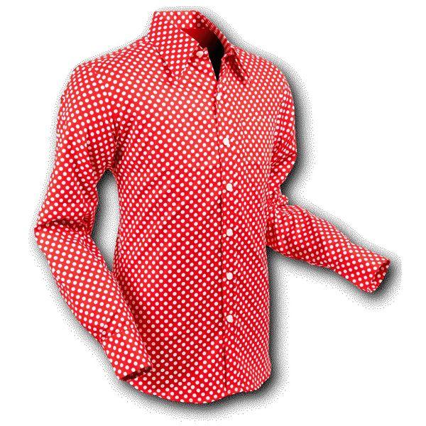 Chenaski   overhemd Seventies Polka Dots Red White