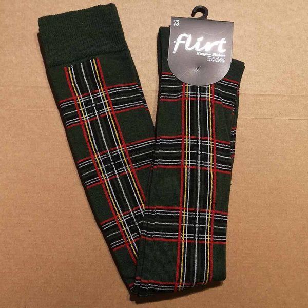 Flirt   Groene overknee sokken met tartan print