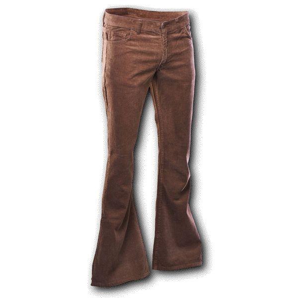 Chenaski | Ribcord retro broek bruin, wijde pijp normale lengte