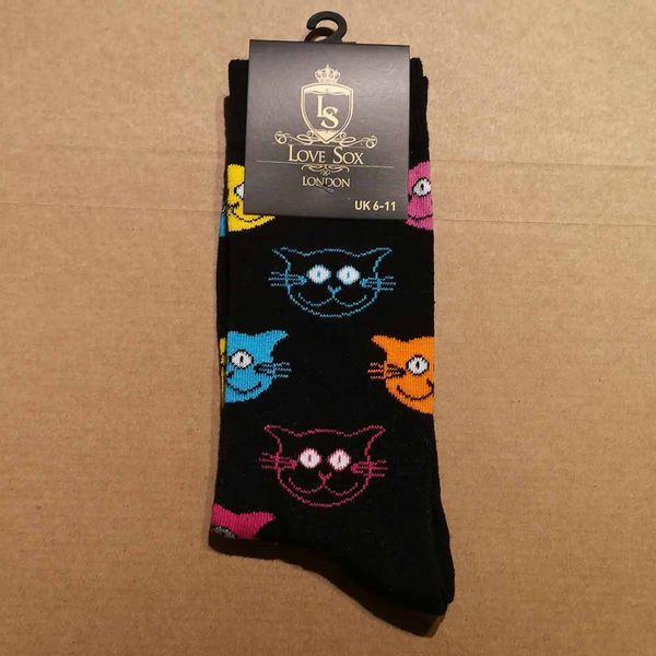 Love Sox   Zwarte sokken met gekleurde kattenkopjes