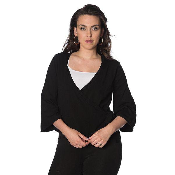 Banned, cardigan Wrap, zwart wikkel-model