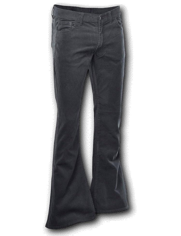 Ribcord retro broek zwart, wijde pijp normale lengte