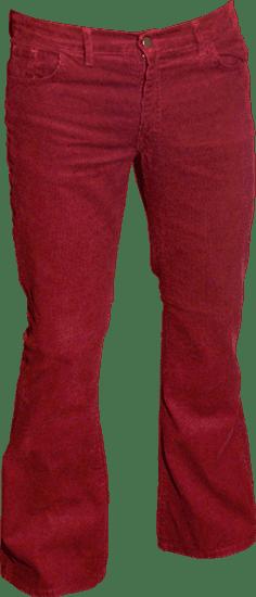 Ribcord retro broek bordeaux, wijde pijp normale lengte