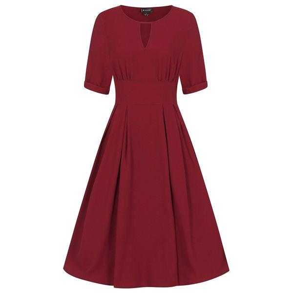 Collectif | Effen kersenrode jurk Clementine met korte mouw