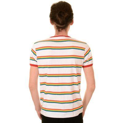 Foto van T-shirt, wit retro rainbow gestreept