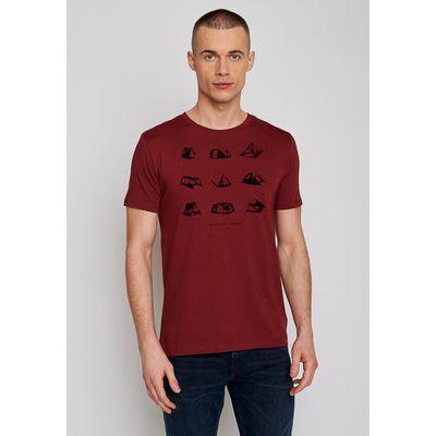 Foto van Green Bomb | T-shirt Outdoor freak, bordeaux rood bio katoen