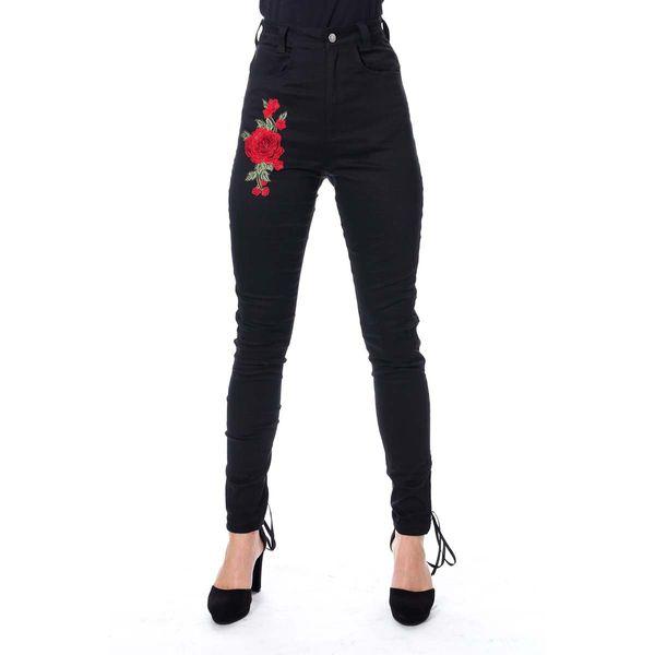 Vixxsin   Skinny jeans Rhiannon met rozen zwart