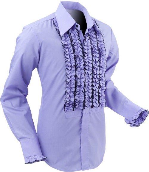 Chenaski | Overhemd ruche, violet met zwarte trim