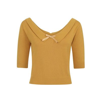 Foto van Collectif | Truitje Babette geel met wijde V-hals en strikje