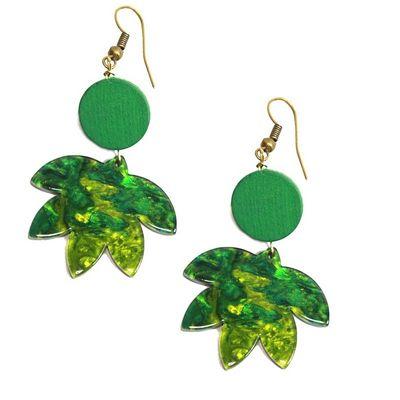 Foto van Miranda's Choice - Oorbellen groene palmbladeren