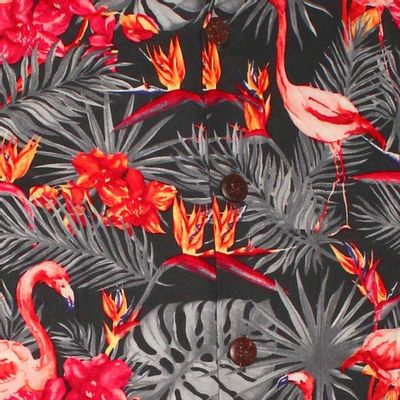 Foto van Chenaski | Overhemd korte mouw, Flamingos in the Jungle, grijs