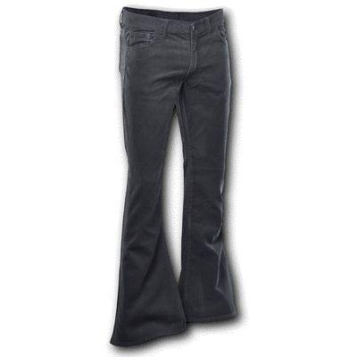 Foto van Chenaski | Ribcord retro broek zwart, wijde pijp lange lengte
