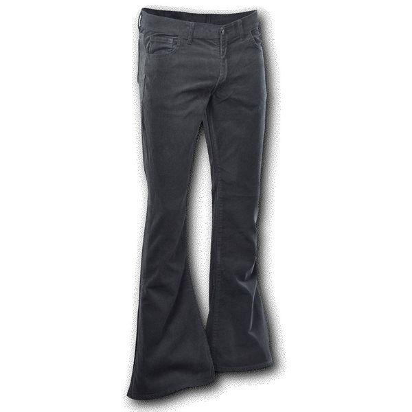 Chenaski | Ribcord retro broek zwart, wijde pijp lange lengte