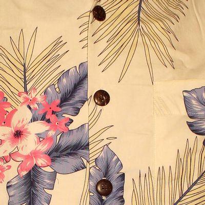 Foto van Chenaski | Overhemd korte mouw, Fern creme blauw roze