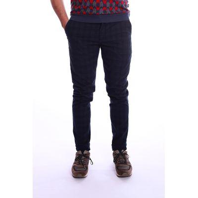 Pantalon Dino, blauw grijs met vage tartan ruit
