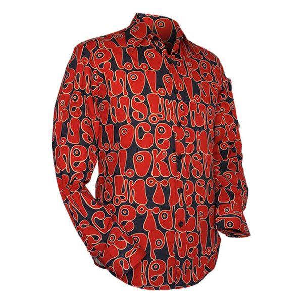 Chenaski | Navy rood seventies overhemd Moloko