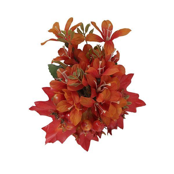 Collectif   haarbloem en broche Lucille, oranje bloem