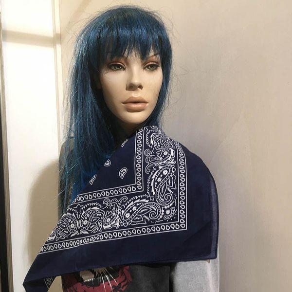 Bandana haarband en sjaal met paisley patroon, blauw-wit