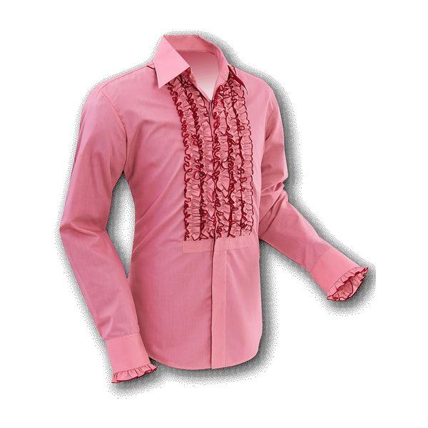 Chenaski   Overhemd ruche, old rose red trim