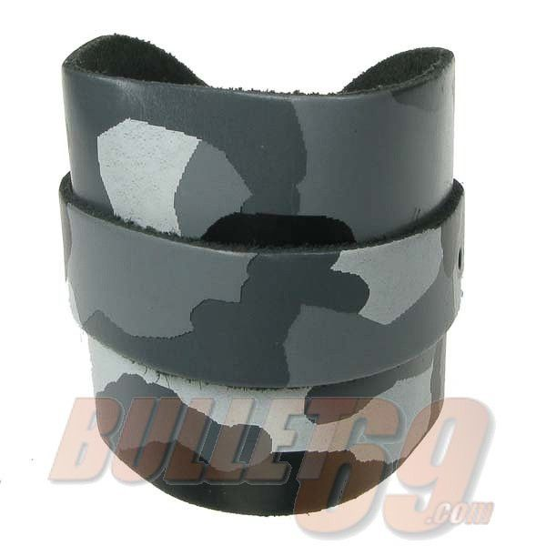 Bullet69 - Leren armband, breed met grijze camouflageprint