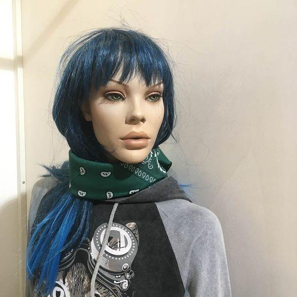 Bandana haarband en sjaal met paisley patroon, groen-wit