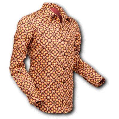 Chenaski | overhemd Seventies Dotsgrid Brown Orange