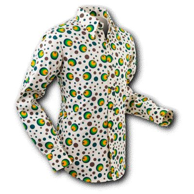 Chenaski | overhemd Seventies Dots and Spots Green