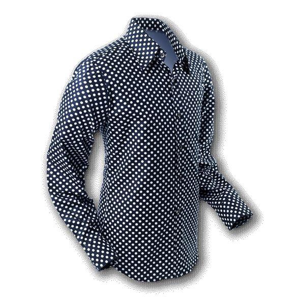 Chenaski | overhemd Seventies Polka Dot Black White