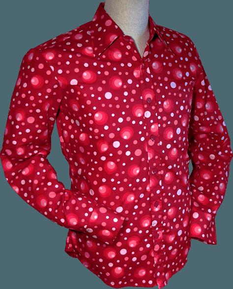 Chenaski   overhemd seventies, Dots and Spots bordeaux