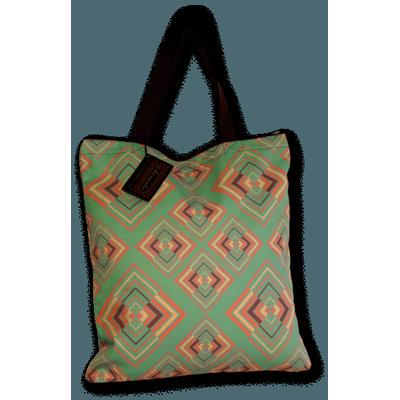 Foto van Handtas retro print Rhombus groen roze